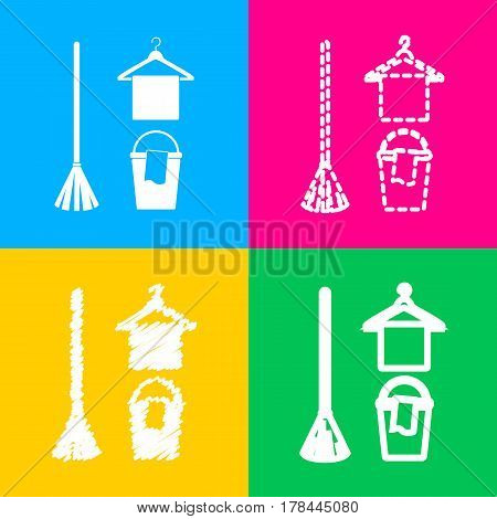 Broom, bucket and hanger sign. Four styles of icon on four color squares.