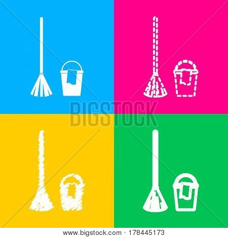 Broom and bucket sign. Four styles of icon on four color squares.