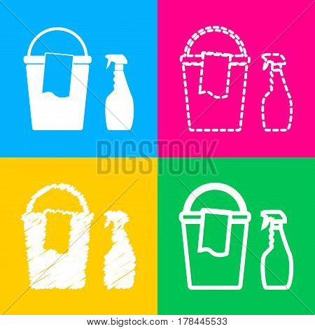 Bucket and a rag with Household chemical bottles. Four styles of icon on four color squares.