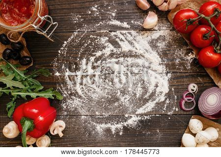 Cooking Pizza. Pizza Ingerdients On The Wooden Table With Copy Space, Top View