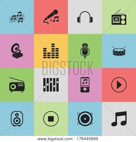 Set Of 16 Editable Audio Icons. Includes Symbols Such As Snare, Phonograph, Media Fm And More. Can Be Used For Web, Mobile, UI And Infographic Design.