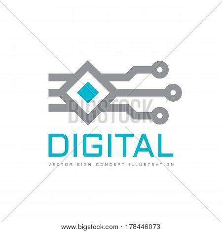 Digital technology - vector logo icon template concept illustration. Electronic computer chip sign. Design element.
