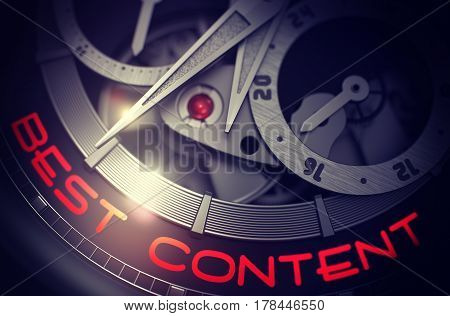 Best Content on Face of Old Watch Machinery Macro Detail Monochrome. Luxury Men Wristwatch with Best Content on the Face, Symbol of Time. Work Concept with Lens Flare. 3D Rendering.