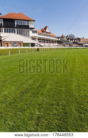 Chester England UK - March 25 2017: Chester Racecourse or the Roodee the oldest flat racing race track in England in use since 1539 it also one of the smallest in the country