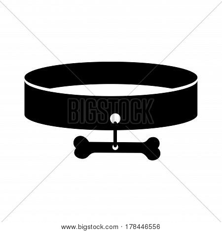 black silhouette pet necklace and bone plaque vector illustration