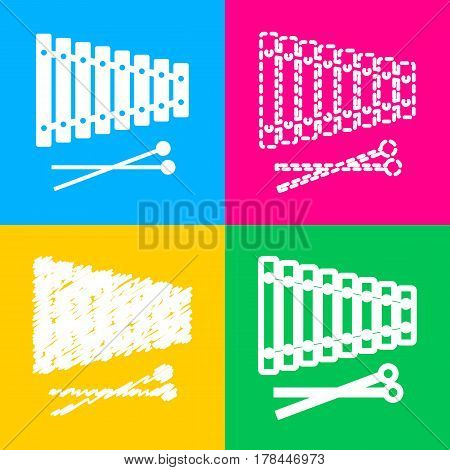 Xylophone sign. Four styles of icon on four color squares.