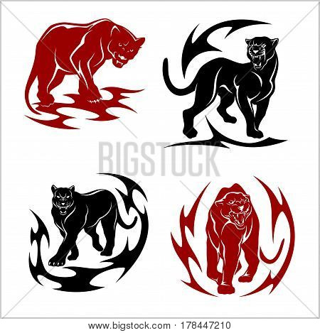 black panthers set - stylized images for tattoos. Isolated on white.