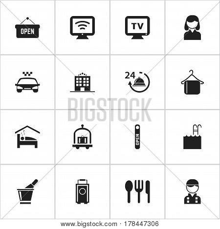Set Of 16 Editable Hotel Icons. Includes Symbols Such As Female, Restaurant, Pool And More. Can Be Used For Web, Mobile, UI And Infographic Design.