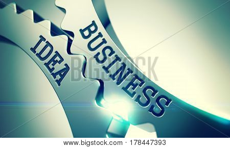 Text Business Idea on Metal Gears - Communication Concept. Business Idea on Mechanism of Shiny Metal Cog Gears. Business Concept in Industrial Design. 3D Render .