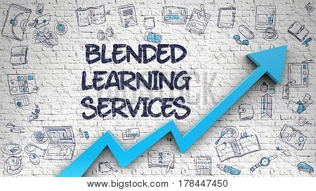 Blended Learning Services - Line Style Illustration with Hand Drawn Elements. Blended Learning Services Drawn on White Brick Wall. Illustration with Doodle Design Icons. 3d.