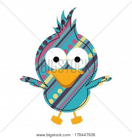 colorful caricature bird open wings with texture dots and lines design vector illustration