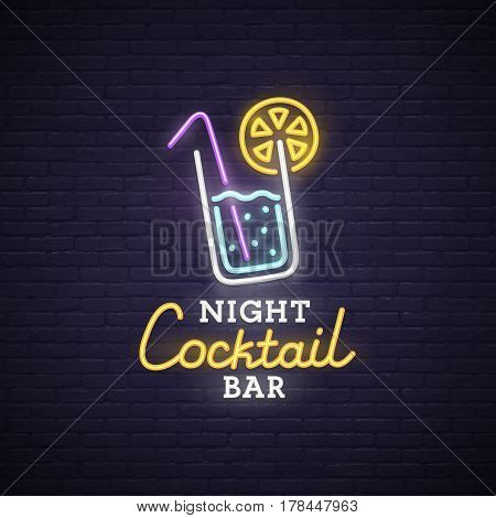 Cocktail neon sign, bright signboard, light banner. Cocktail logo, emblem