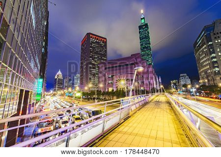 Taipei Taiwan - MAY 21 2016 : Taipei cityscape at twilight in Taiwan city