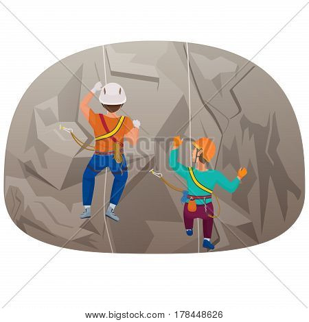 Back view of two people climbing up to the cliff vector illustration