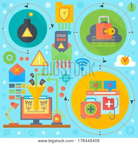 Online communication security, computer virus protection, cuber security infographics template icons in circles design, web elements, poster banners, Vector illustration