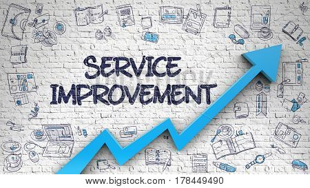 Service Improvement - Modern Line Style Illustration with Hand Drawn Elements. Service Improvement - Enhancement Concept. Inscription on White Wall with Doodle Design Icons Around. 3d.