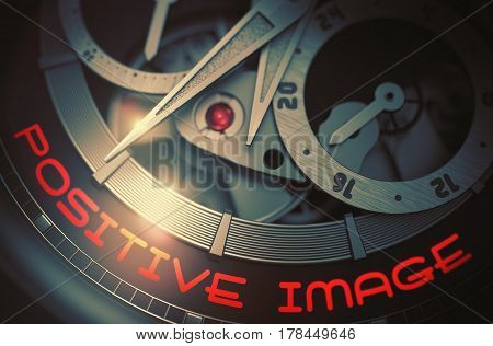 Luxury Wristwatch Machinery Macro Detail with Inscription Positive Image. Automatic Wristwatch with Positive Image on the Face, Symbol of Time. Time Concept with Glowing Light Effect. 3D Rendering.