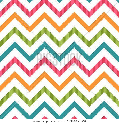 Decorative fabric for wrapping paper, banner, print. Horizontal lines, retro zig-zag shapes