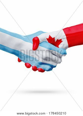 Flags Argentina Canada countries handshake cooperation partnership friendship or national sports team competition concept isolated on white