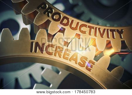 Productivity Increase on Mechanism of Golden Metallic Cogwheels with Lens Flare. Productivity Increase on the Golden Cog Gears. 3D Rendering.