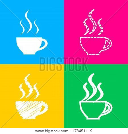Cup of coffee sign. Four styles of icon on four color squares.