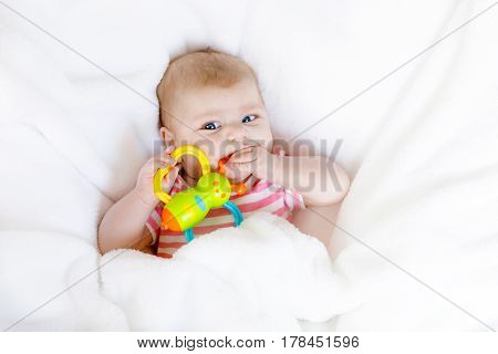 Cute adorable two months baby sucking fist and toys as getting first tooh. Closeup of peaceful child, little baby girl. Looking the camera. Wrapped in white blanket. Family, birth, new life. Attentive child.
