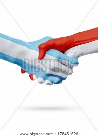 Flags Argentina Monaco countries handshake cooperation partnership friendship or national sports team competition concept isolated on white