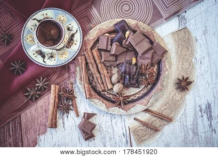 Turkish Coffee, Chocolate And Spices Above View