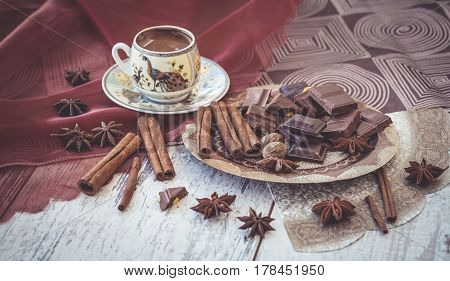 Turkish Coffee Chocolate And Spices On Plate