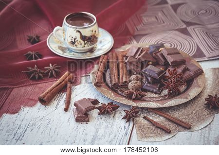 Cup Turkish Coffee Chocolate And Spices