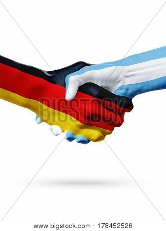 Flags Germany Argentina countries handshake cooperation partnership friendship or sports team competition concept isolated on white