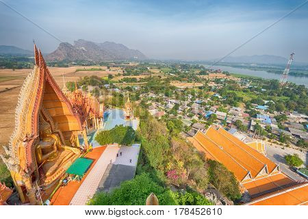 Ariel view temple with landscape in Kanchanaburi Thailand