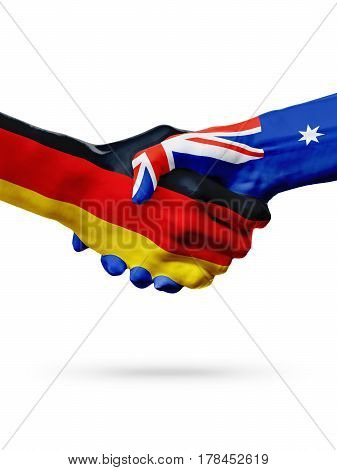 Flags Germany Australia countries handshake cooperation partnership friendship or sports team competition concept isolated on white