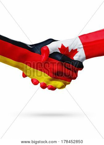 Flags Germany Canada countries handshake cooperation partnership friendship or sports team competition concept isolated on white