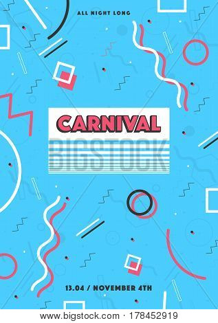 blue carnival poster. abstract memphis 90s, 80s style retro background with place for text.