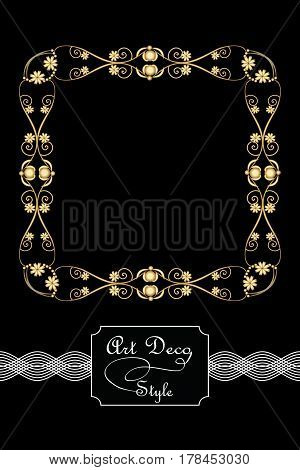 Elegant antiquarian golden square frames in art deco style 3d illusion in filigree metalic ornament eps10 vector