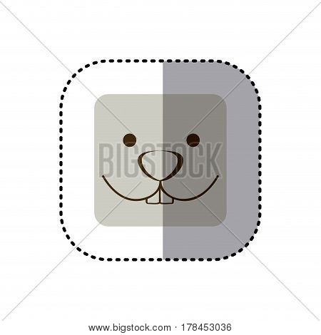 colorful face sticker of rabbit face in square frame vector illustration
