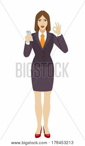 Businesswoman using a mobile phone and show a okay hand sign. Full length portrait of businesswoman in a flat style. Vector illustration.