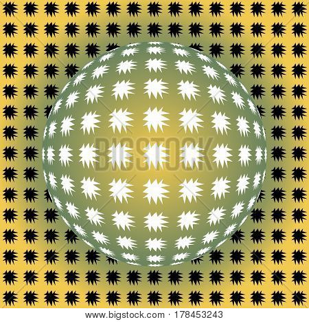 Seamless background in optical art style yellow and green ball with uneven stars vector EPS 10