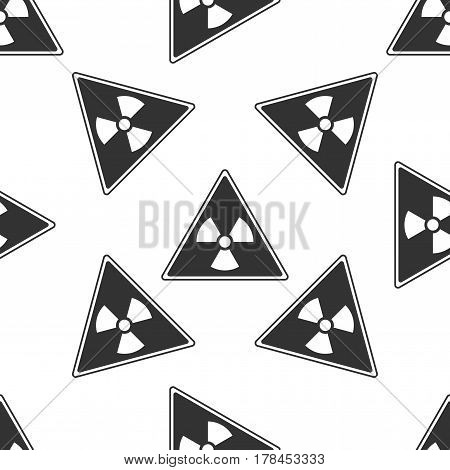 Triangle sign with a radiation symbol icon seamless pattern on white background. Vector Illustration