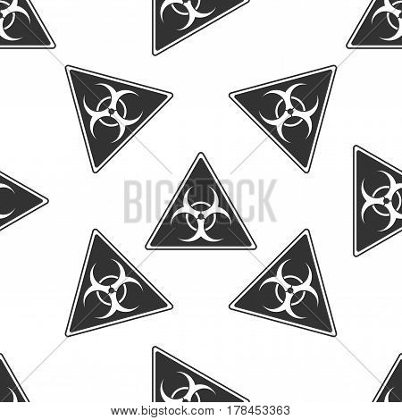 Triangle sign with a Biohazard sign icon seamless pattern on white background. Vector Illustration