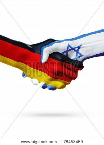 Flags Germany Israel countries handshake cooperation partnership friendship or sports team competition concept isolated on white