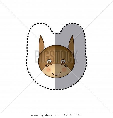 sticker colorful picture face cute donkey animal vector illustration