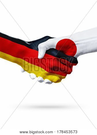 Flags Germany Japan countries handshake cooperation partnership friendship or sports team competition concept isolated on white