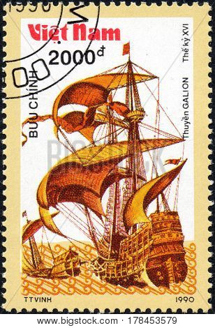UKRAINE - CIRCA 2017: A postage stamp printed in Vietnam shows old sailing ship Galion series Ancient boats 2000d circa 1990