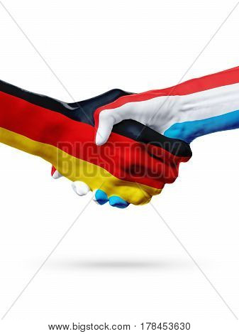 Flags Germany Luxembourg countries handshake cooperation partnership friendship or sports team competition concept isolated on white