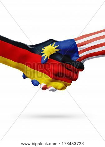 Flags Germany Malaysia countries handshake cooperation partnership friendship or sports team competition concept isolated on white