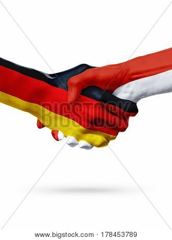 Flags Germany Monaco countries handshake cooperation partnership friendship or sports team competition concept isolated on white