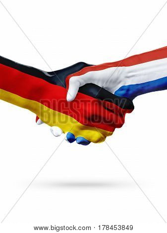 Flags Germany Netherlands countries handshake cooperation partnership friendship or sports team competition concept isolated on white