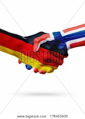 Flags Germany Norway countries handshake cooperation partnership friendship or sports team competition concept isolated on white